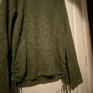 Green cinch side sweater